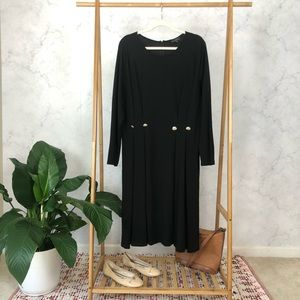 Eloquii Black Fit And Flare Long Sleeve Dress